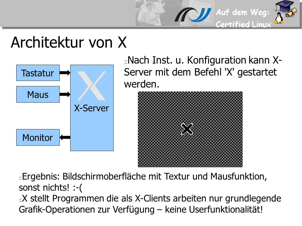 Auf dem Weg: Certified Linux 4.x Beispiel für Screen-Section Section Screen DefaultDepth 16 SubSection Display Depth 16 Modes 1024x768 1024x600 800x600 EndSubSection SubSection Display Depth 24 Modes 1024x768 1024x600 800x600 EndSubSection Device Karte1 Identifier Screen1 Monitor Monitor1 EndSection Mode-Umschaltung im lfd.