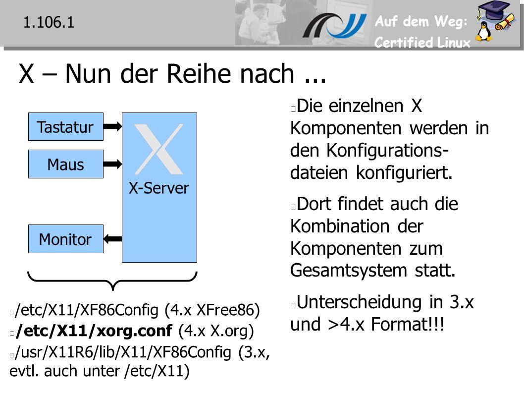 Auf dem Weg: Certified Linux Environment-Variable DISPLAY 1.110.4 Legt für X-Clients fest an welchem X-Server die Darstellung mittels X-Protokoll gesendet wird Aufbau des Variablenwerts: hostname:displaynumber.screennumber Sowohl die Display- als auch Screen-Nr.