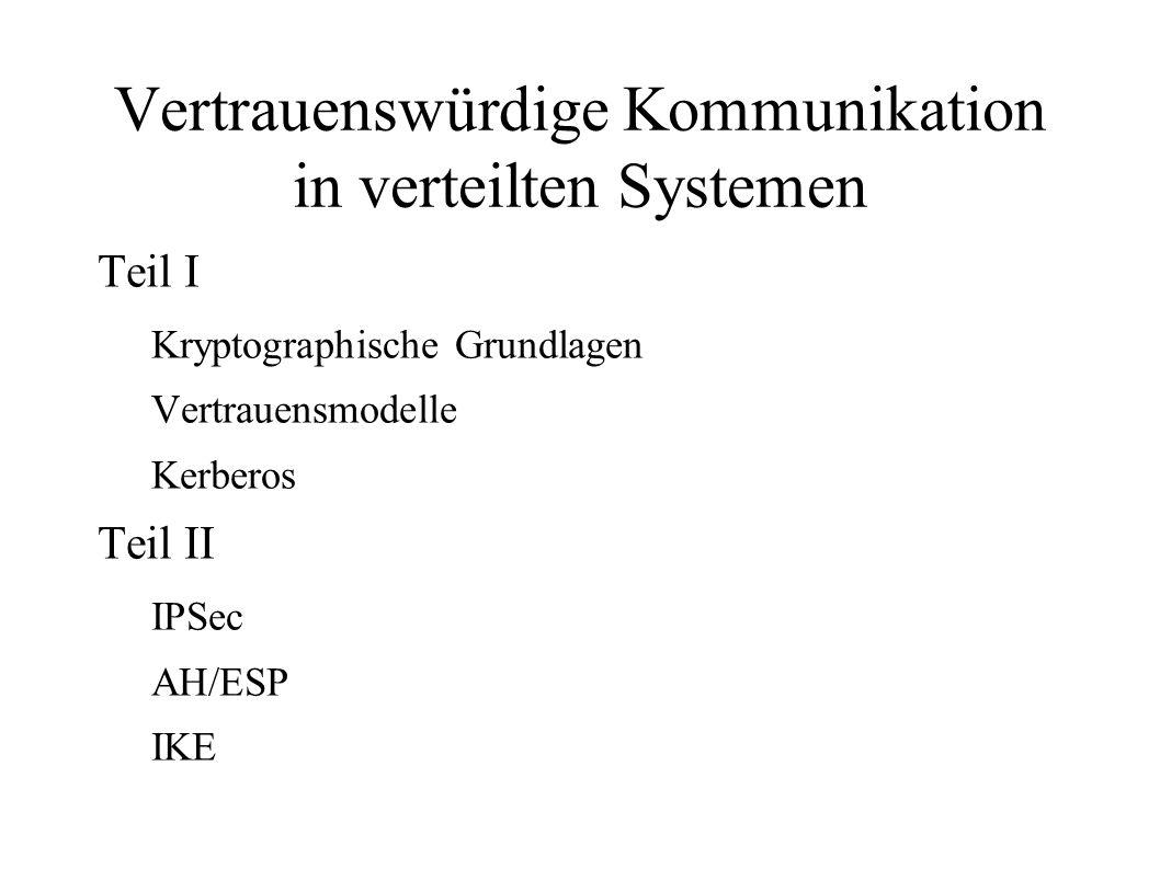 Vertrauenswürdige Kommunikation in verteilten Systemen Teil I Kryptographische Grundlagen Vertrauensmodelle Kerberos Teil II IPSec AH/ESP IKE