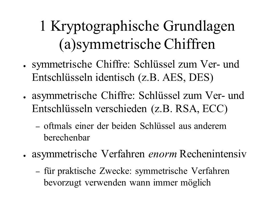 1 Kryptographische Grundlagen (a)symmetrische Chiffren ● symmetrische Chiffre: Schlüssel zum Ver- und Entschlüsseln identisch (z.B. AES, DES) ● asymme