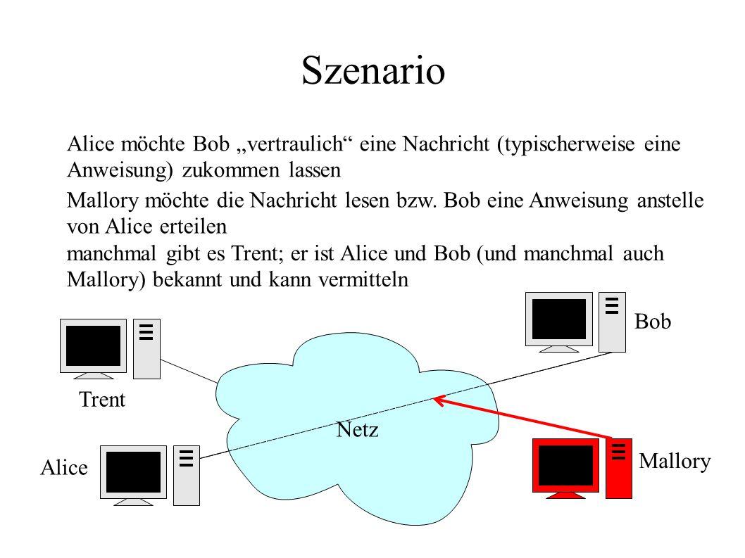 """Trent manchmal gibt es Trent; er ist Alice und Bob (und manchmal auch Mallory) bekannt und kann vermitteln Szenario Netz Alice Bob Alice möchte Bob """"v"""