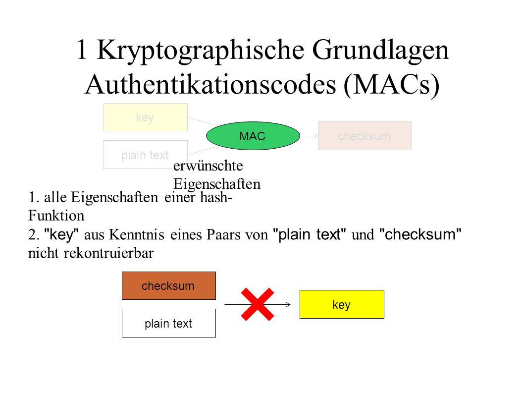 1 Kryptographische Grundlagen Authentikationscodes (MACs) plain text checksum key MAC erwünschte Eigenschaften 1. alle Eigenschaften einer hash- Funkt