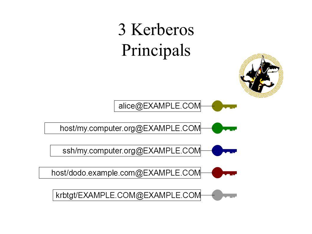 3 Kerberos Principals alice@EXAMPLE.COM host/my.computer.org@EXAMPLE.COM ssh/my.computer.org@EXAMPLE.COM host/dodo.example.com@EXAMPLE.COM krbtgt/EXAMPLE.COM@EXAMPLE.COM