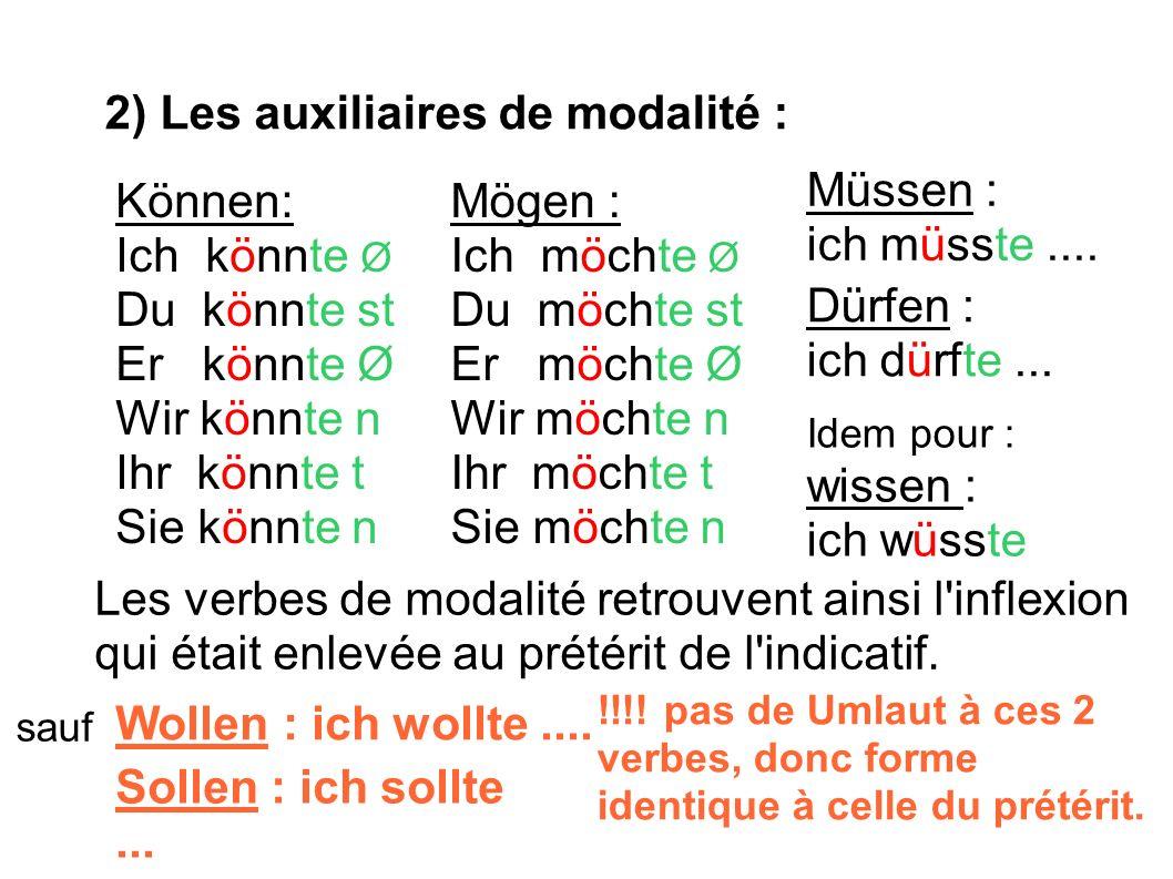 3) Les verbes forts : Mais il existe leur forme propre de subjonctif II : basée aussi le prétérit de l indicatif + inflexion(quand c est possible) + terminaisons identiques au prétérit Gehen > ging > ich ginge … Fahren> fuhr > ich führe...