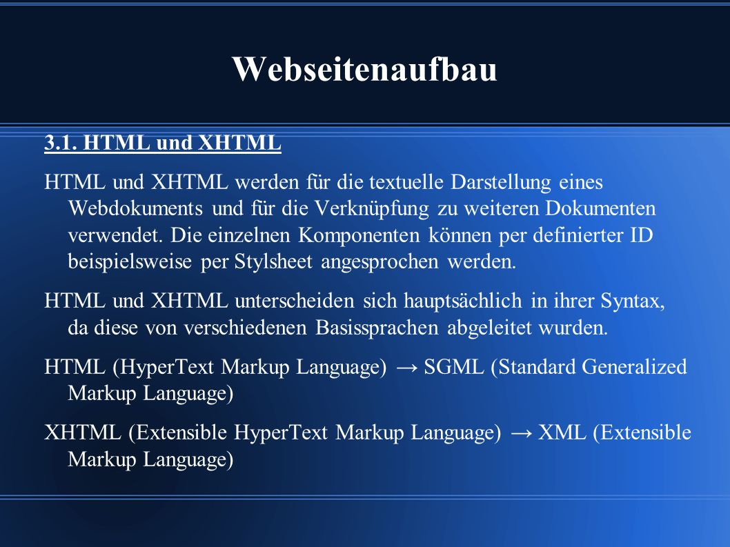 Webseitenaufbau 3.1.
