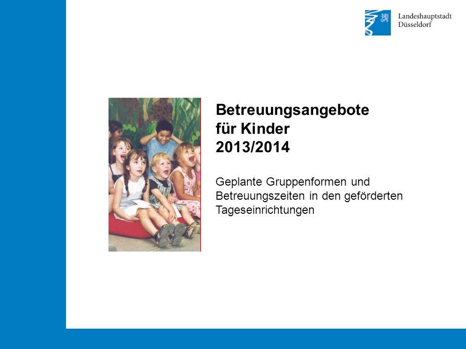 Betreuungsangebote für Kinder 2013/2014 Geplante Gruppenformen und Betreuungszeiten in den geförderten Tageseinrichtungen