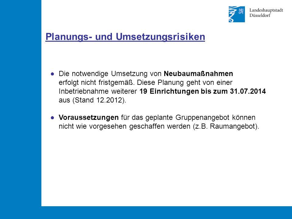Planungs- und Umsetzungsrisiken ● Die notwendige Umsetzung von Neubaumaßnahmen erfolgt nicht fristgemäß.