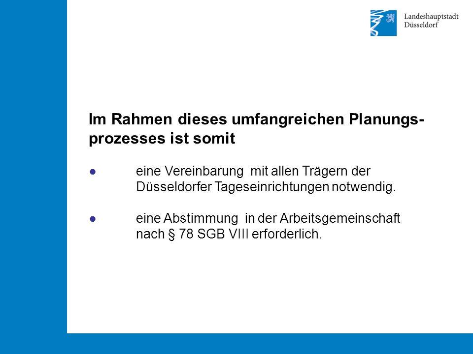 Im Rahmen dieses umfangreichen Planungs- prozesses ist somit ● eine Vereinbarung mit allen Trägern der Düsseldorfer Tageseinrichtungen notwendig.
