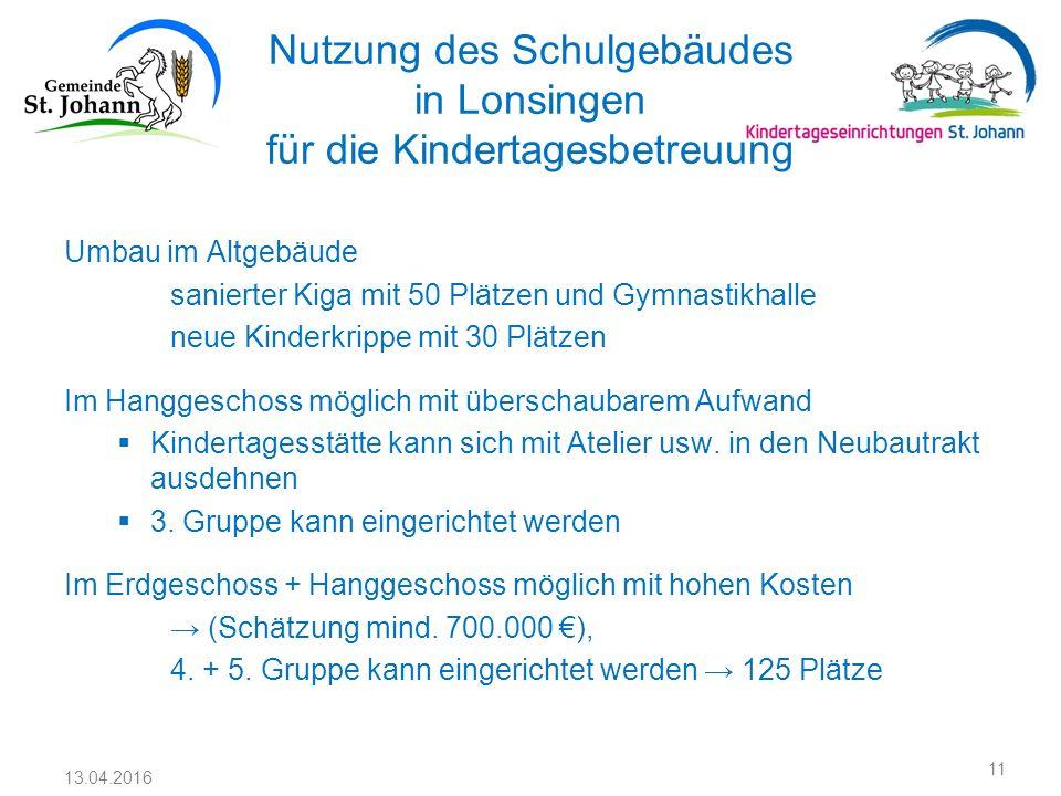 Nutzung des Schulgebäudes in Lonsingen für die Kindertagesbetreuung Umbau im Altgebäude sanierter Kiga mit 50 Plätzen und Gymnastikhalle neue Kinderkr
