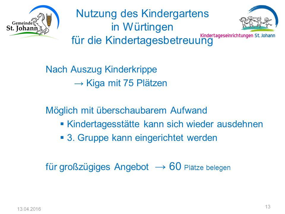 Nutzung des Kindergartens in Würtingen für die Kindertagesbetreuung Nach Auszug Kinderkrippe → Kiga mit 75 Plätzen Möglich mit überschaubarem Aufwand