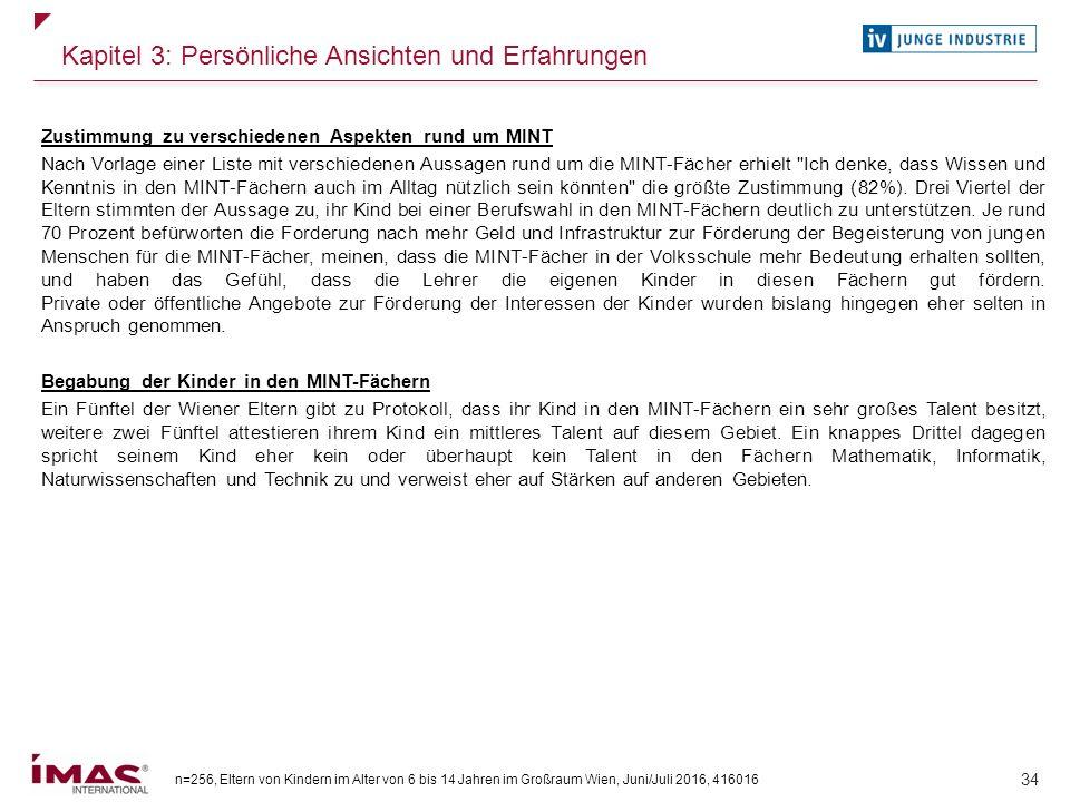 n=256, Eltern von Kindern im Alter von 6 bis 14 Jahren im Großraum Wien, Juni/Juli 2016, 416016 34 Kapitel 3: Persönliche Ansichten und Erfahrungen Zu