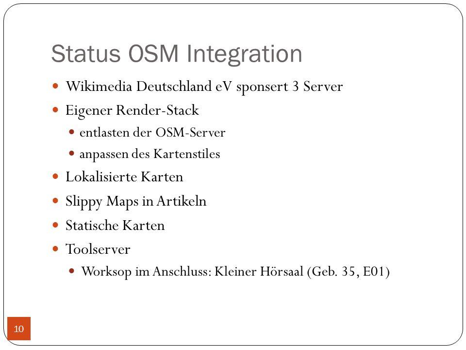 Status OSM Integration Wikimedia Deutschland eV sponsert 3 Server Eigener Render-Stack entlasten der OSM-Server anpassen des Kartenstiles Lokalisierte Karten Slippy Maps in Artikeln Statische Karten Toolserver Worksop im Anschluss: Kleiner Hörsaal (Geb.
