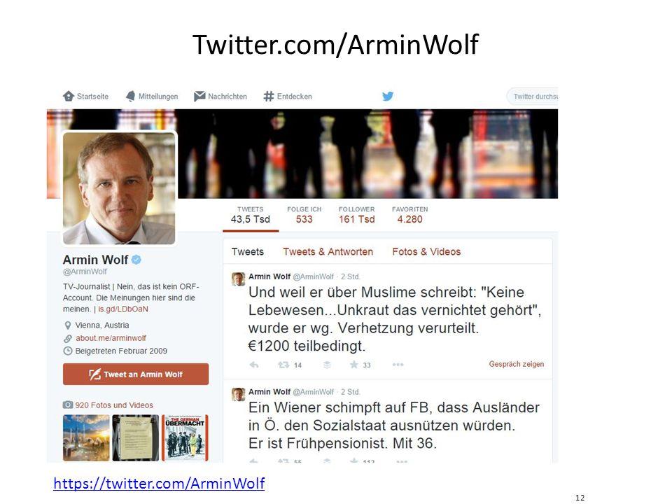 Twitter.com/ArminWolf 12 https://twitter.com/ArminWolf