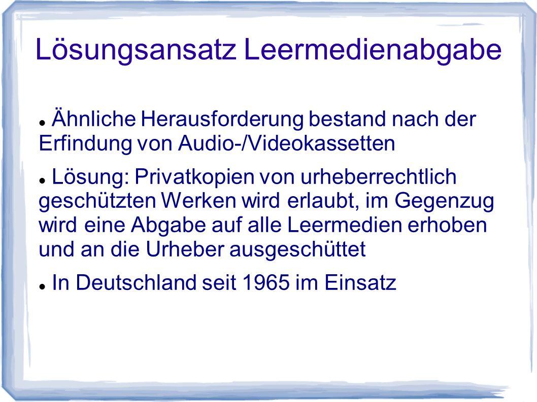 Lösungsansatz Leermedienabgabe Ähnliche Herausforderung bestand nach der Erfindung von Audio-/Videokassetten Lösung: Privatkopien von urheberrechtlich geschützten Werken wird erlaubt, im Gegenzug wird eine Abgabe auf alle Leermedien erhoben und an die Urheber ausgeschüttet In Deutschland seit 1965 im Einsatz