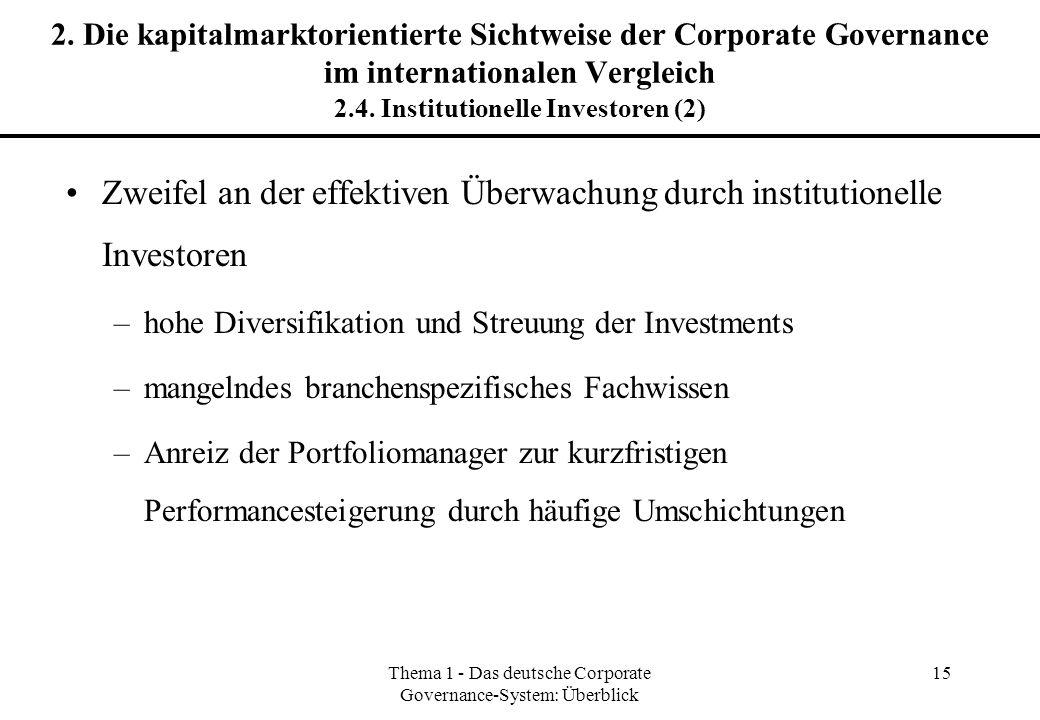 Thema 1 - Das deutsche Corporate Governance-System: Überblick 15 2. Die kapitalmarktorientierte Sichtweise der Corporate Governance im internationalen
