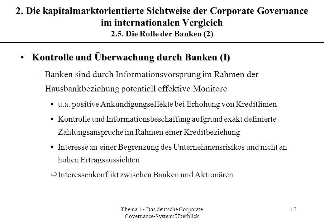 Thema 1 - Das deutsche Corporate Governance-System: Überblick 17 2. Die kapitalmarktorientierte Sichtweise der Corporate Governance im internationalen