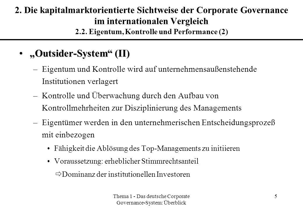 Thema 1 - Das deutsche Corporate Governance-System: Überblick 5 2. Die kapitalmarktorientierte Sichtweise der Corporate Governance im internationalen