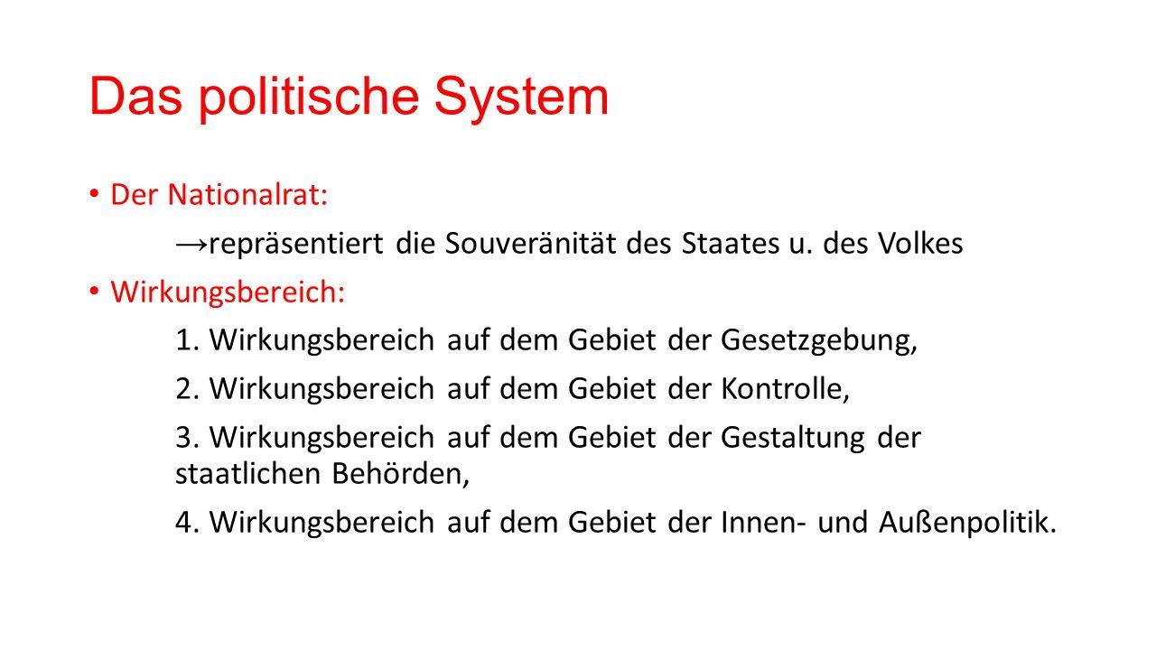 Das politische System Der Nationalrat: → repräsentiert die Souveränität des Staates u.