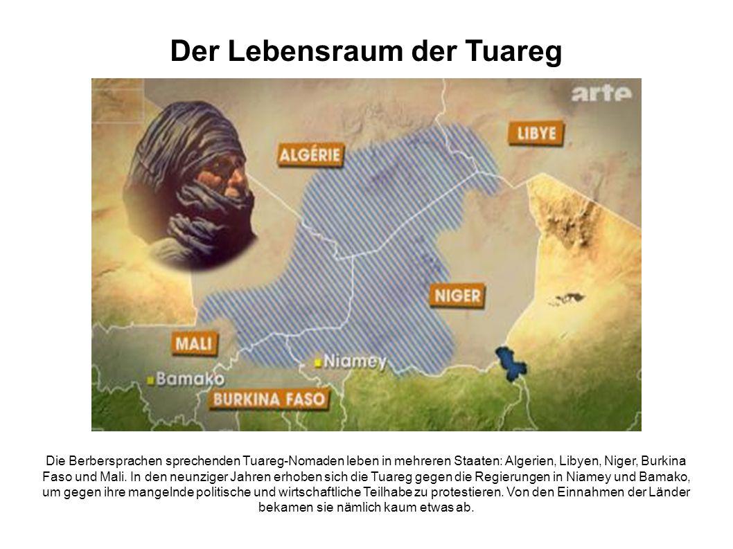Der Lebensraum der Tuareg Die Berbersprachen sprechenden Tuareg-Nomaden leben in mehreren Staaten: Algerien, Libyen, Niger, Burkina Faso und Mali.