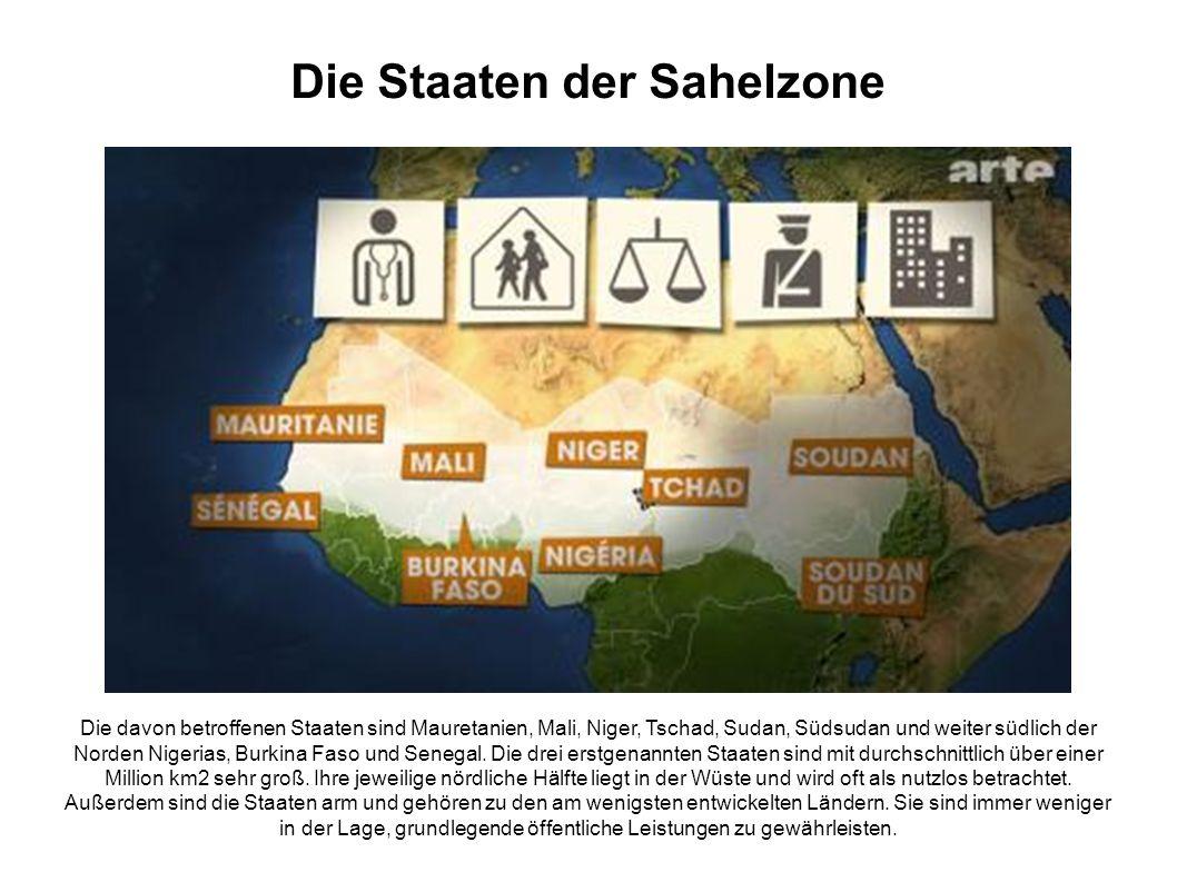 Die Staaten der Sahelzone Die davon betroffenen Staaten sind Mauretanien, Mali, Niger, Tschad, Sudan, Südsudan und weiter südlich der Norden Nigerias, Burkina Faso und Senegal.
