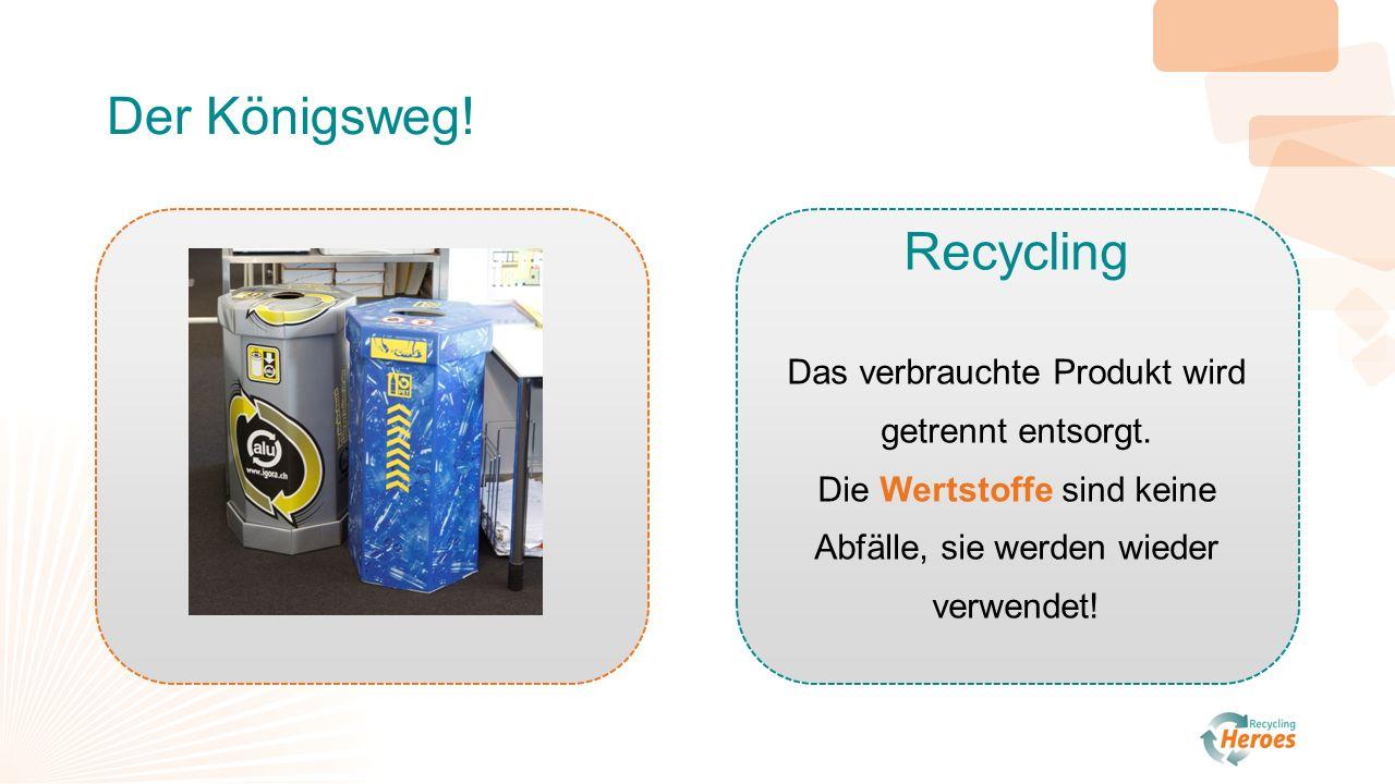 Der Königsweg. Recycling Das verbrauchte Produkt wird getrennt entsorgt.
