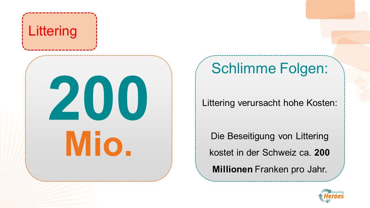 Littering Schlimme Folgen: Littering verursacht hohe Kosten: Die Beseitigung von Littering kostet in der Schweiz ca.