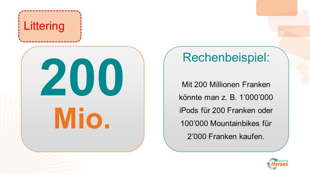200 Mio. Rechenbeispiel: Mit 200 Millionen Franken könnte man z.