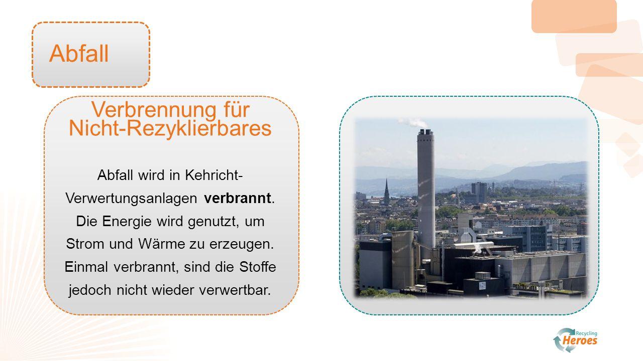 Abfall Verbrennung für Nicht-Rezyklierbares Abfall wird in Kehricht- Verwertungsanlagen verbrannt.