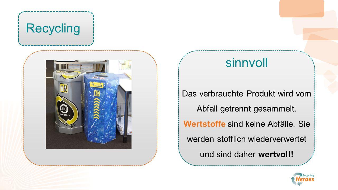 Recycling sinnvoll Das verbrauchte Produkt wird vom Abfall getrennt gesammelt.