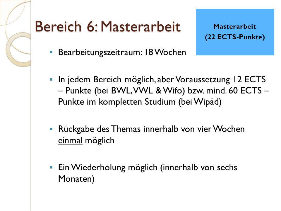 Bereich 6: Masterarbeit  Bearbeitungszeitraum: 18 Wochen  In jedem Bereich möglich, aber Voraussetzung 12 ECTS – Punkte (bei BWL, VWL & Wifo) bzw.