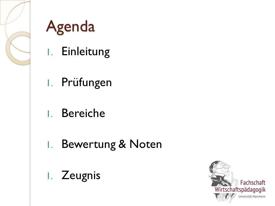 Agenda 1. Einleitung 1. Prüfungen 1. Bereiche 1. Bewertung & Noten 1. Zeugnis