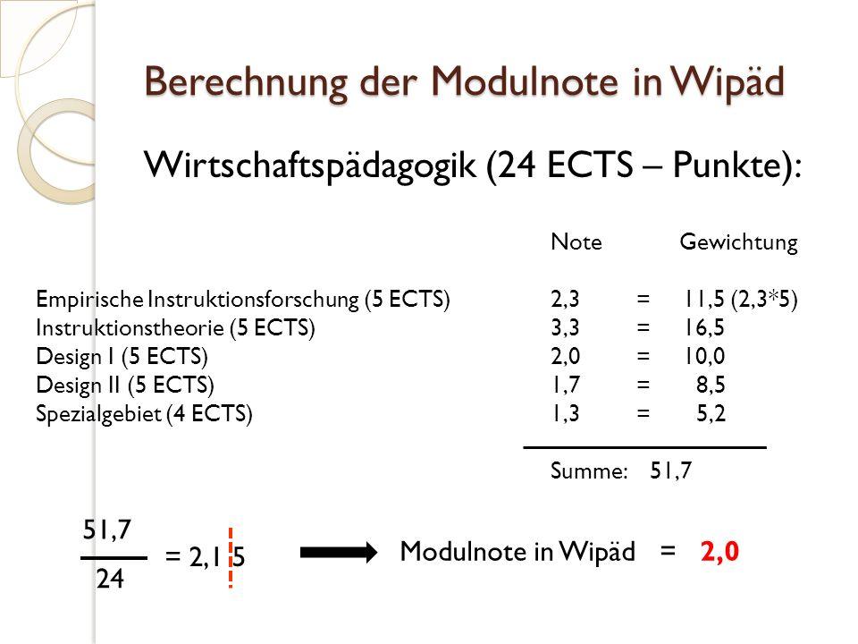 Berechnung der Modulnote in Wipäd Wirtschaftspädagogik (24 ECTS – Punkte): NoteGewichtung Empirische Instruktionsforschung (5 ECTS)2,3= 11,5 (2,3*5) Instruktionstheorie (5 ECTS)3,3= 16,5 Design I (5 ECTS)2,0= 10,0 Design II (5 ECTS)1,7= 8,5 Spezialgebiet (4 ECTS)1,3= 5,2 Summe: 51,7 51,7 24 = 2,1 5 Modulnote in Wipäd = 2,0