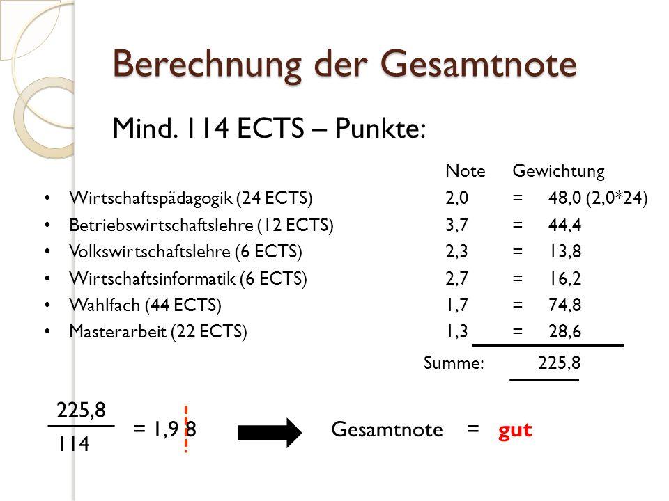 Berechnung der Gesamtnote Mind.
