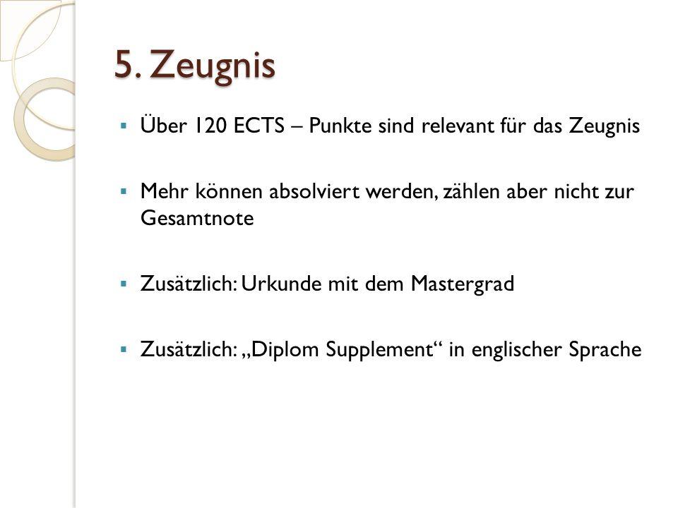 5. Zeugnis  Über 120 ECTS – Punkte sind relevant für das Zeugnis  Mehr können absolviert werden, zählen aber nicht zur Gesamtnote  Zusätzlich: Urku