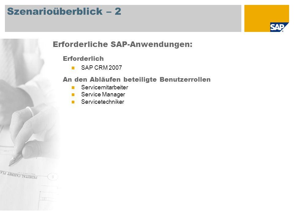 Szenarioüberblick – 2 Erforderlich SAP CRM 2007 An den Abläufen beteiligte Benutzerrollen Servicemitarbeiter Service Manager Servicetechniker Erforderliche SAP-Anwendungen: