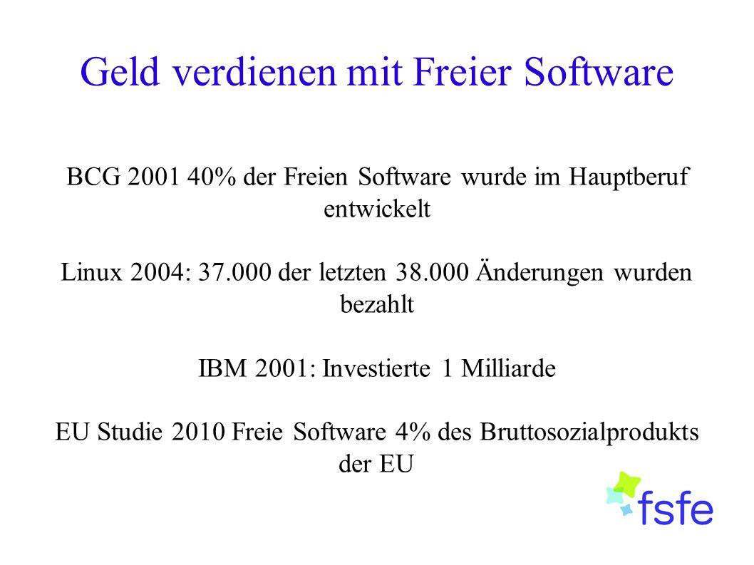 Geld verdienen mit Freier Software BCG 2001 40% der Freien Software wurde im Hauptberuf entwickelt Linux 2004: 37.000 der letzten 38.000 Änderungen wurden bezahlt IBM 2001: Investierte 1 Milliarde EU Studie 2010 Freie Software 4% des Bruttosozialprodukts der EU