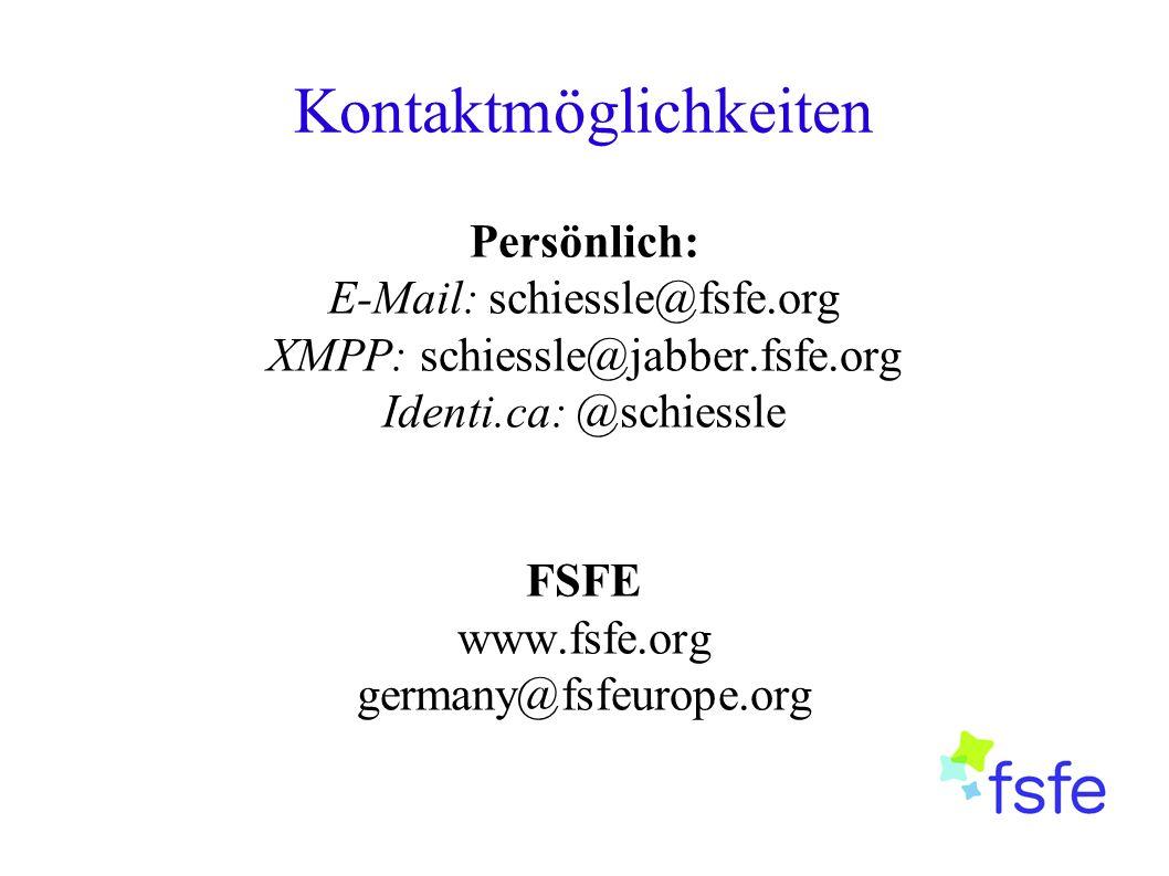 Kontaktmöglichkeiten Persönlich: E-Mail: schiessle@fsfe.org XMPP: schiessle@jabber.fsfe.org Identi.ca: @schiessle FSFE www.fsfe.org germany@fsfeurope.org
