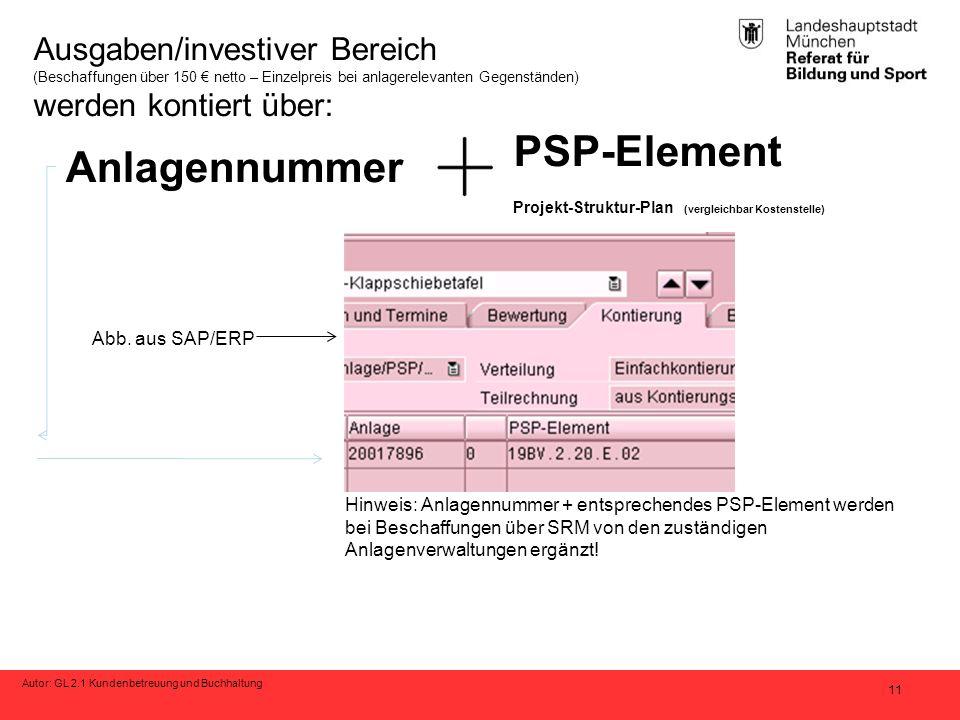Autor: GL 2.1 Kundenbetreuung und Buchhaltung 11 Ausgaben/investiver Bereich (Beschaffungen über 150 € netto – Einzelpreis bei anlagerelevanten Gegens