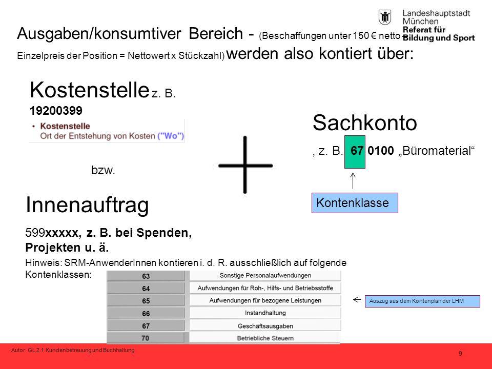 """Autor: GL 2.1 Kundenbetreuung und Buchhaltung 9 Sachkonto, z. B. 67 0100 """"Büromaterial"""" Kostenstelle z. B. 19200399 Ausgaben/konsumtiver Bereich - (Be"""