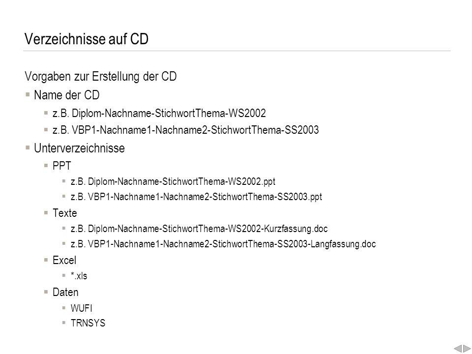 Verzeichnisse auf CD Vorgaben zur Erstellung der CD  Name der CD  z.B. Diplom-Nachname-StichwortThema-WS2002  z.B. VBP1-Nachname1-Nachname2-Stichwo