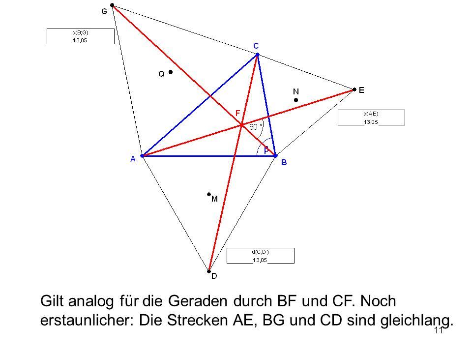 11 Gilt analog für die Geraden durch BF und CF.
