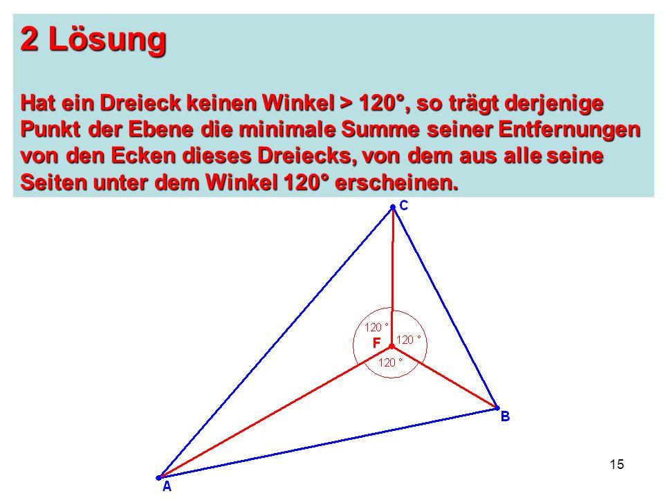 15 2 Lösung Hat ein Dreieck keinen Winkel > 120°, so trägt derjenige Punkt der Ebene die minimale Summe seiner Entfernungen von den Ecken dieses Dreiecks, von dem aus alle seine Seiten unter dem Winkel 120° erscheinen.