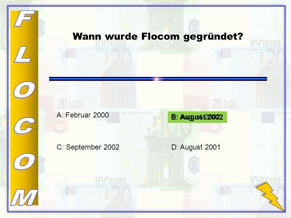 B: August 2002 Wann wurde Flocom gegründet.