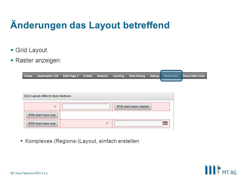 | Änderungen das Layout betreffend  Grid Layout  Raster anzeigen:  Komplexes (Regions-)Layout, einfach erstellen New Features APEX 4.2.x10