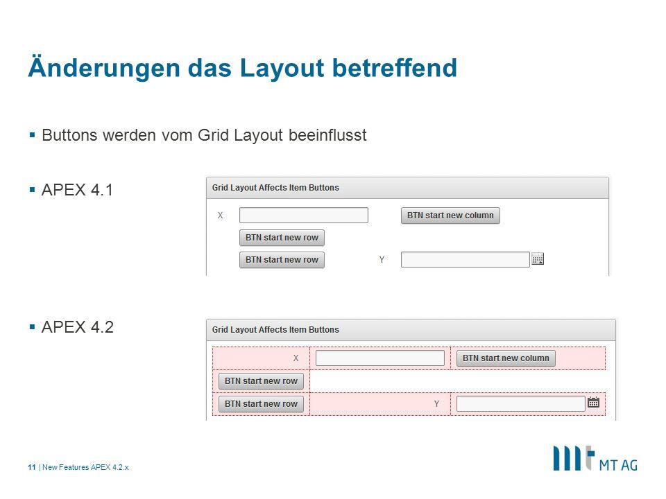 | Änderungen das Layout betreffend  Buttons werden vom Grid Layout beeinflusst  APEX 4.1  APEX 4.2 New Features APEX 4.2.x11