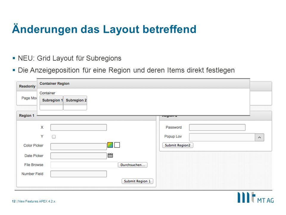 | Änderungen das Layout betreffend  NEU: Grid Layout für Subregions  Die Anzeigeposition für eine Region und deren Items direkt festlegen New Features APEX 4.2.x12