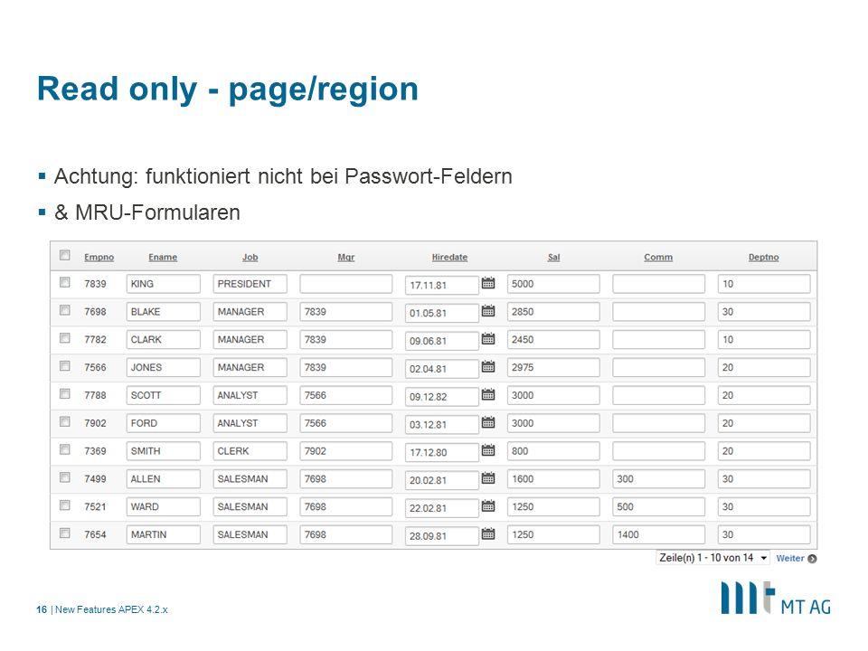 | Read only - page/region  Achtung: funktioniert nicht bei Passwort-Feldern  & MRU-Formularen New Features APEX 4.2.x16