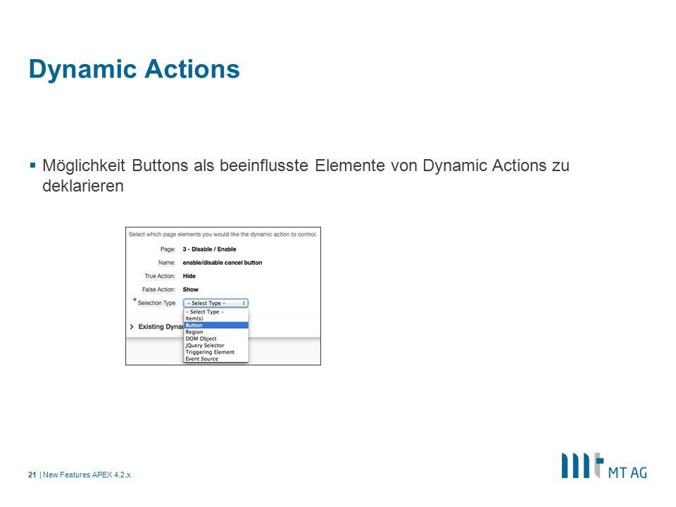 | Dynamic Actions  Möglichkeit Buttons als beeinflusste Elemente von Dynamic Actions zu deklarieren New Features APEX 4.2.x21