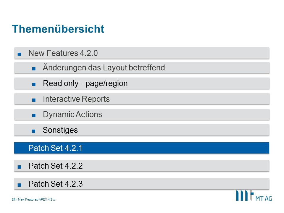 | Themenübersicht New Features APEX 4.2.x24 ■ New Features 4.2.0 ■ Änderungen das Layout betreffend ■ Read only - page/region ■ Interactive Reports ■ Dynamic Actions ■ Sonstiges ■ Patch Set 4.2.1 ■ Patch Set 4.2.2 ■ Patch Set 4.2.3