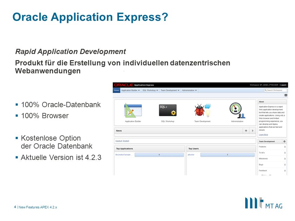 | Oracle Application Express.